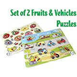 Akhand Combo Of Learning Fruits And Vehicles Wooden Puzzles For Kids