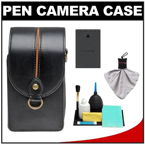 Olympus Premium Leather Style Pen Digital Camera Case (Black) with BLS-1/BLS-5 Battery + Cleaning Accessory Kit for Micro 4/3 E-P1, E-P2, E-P3, E-PL1, E-PL2, E-PL3 & E-PM1