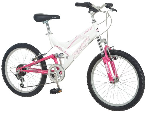 Pacific Girl's Chromium Full Suspension Bicycle (20-Inch, White/Pink)