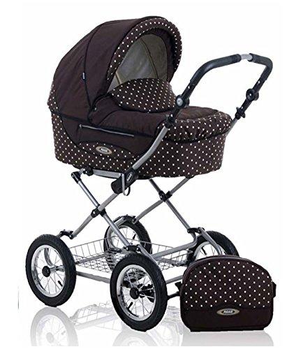 13-teiliges-Klassisches-Qualitts-Kinderwagenset-2-in1-Roan-KORTINA-Kinderwagen-Buggy-Sonnenschirm-Matratze-Mega-Zubehr-in-Farbe-K-17-BRAUN-WEISSE-PUNKTE