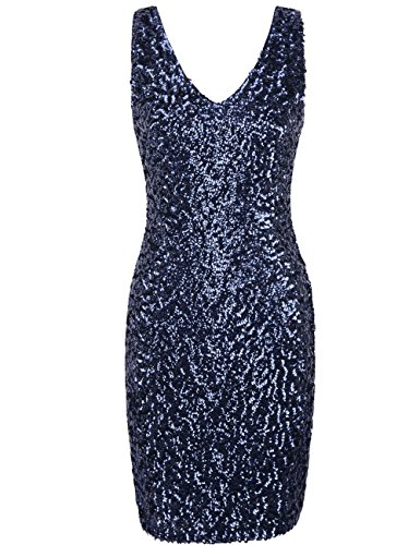 PrettyGuide Women Sexy Deep V Neck Sequin Glitter Bodycon Stretchy Mini Party Dress M Navy