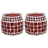 EarthenMetal Handcrafted Mosaic Design Red Coloured Matt Finish Tealight Holder (Candle Light Holder)- Set Of 2 - B018MB8EBU