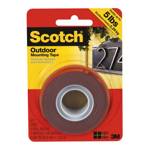 Scotch 411P Outdoor Mounting Double Sided Tape, 60 By 1-Inch