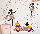【ELEEJE】 大きめ サイズ ウォールステッカー 春 ・ 旅立ち ・ 別れ ・ 卒業 の 時 そして 輝ける 出会い の 季節 を 華やか に 演出 (鳥かごを持った少女、花で描かれた車、花束 の アンブレラ を持った 少女 の 3枚セット )