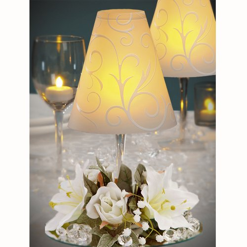 12 Centerpieces Incl: Swirl Wine Glass Shades, Silk Flowers, Amber Battery Led Tea Lights Wedding Table Decoration