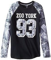 Zoo York Big Boys' Unbreakable Long Sleeve Raglan, Black, Small/8
