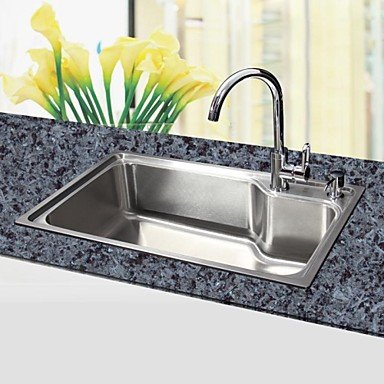 L29.5 Inch Single Bowl 304 Stainless Steel Kitchen Sink(Faucet Not Included)
