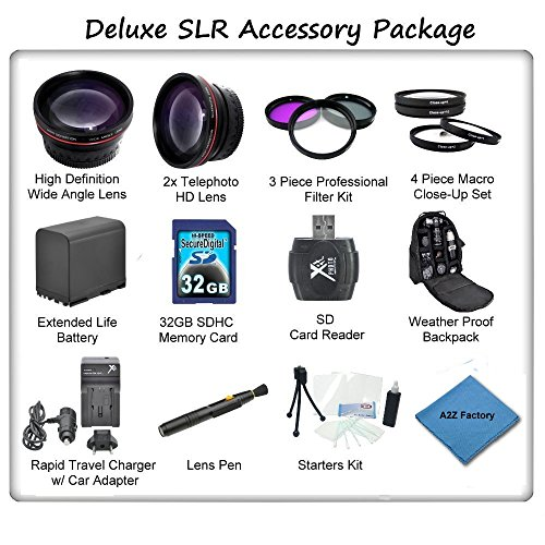 Pro Series Accessory Package For Canon Xa10 Xa20 Xa25 High Definition Camcorders: Package Includes Canon Bp828 Replacement Battery, Rapid Travel Charger, Wide Angle Lens, Telephoto Lens, 3 Piece Filter Kit, 4 Piece Macro Close Up Set, 32Gb Sd Memory Card,