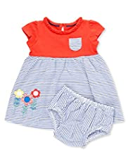 Pure Cotton Floral Appliqu Striped Dress & Knicker Set
