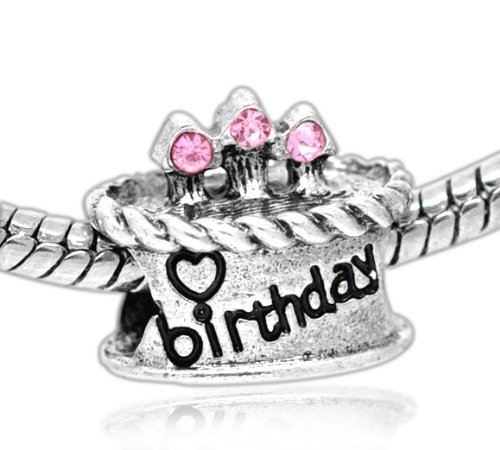 Believe Beads 1 x Silver Plated Birthday Cake with Pink Stones Charm Bead will fit Pandora/Troll/Chamilia Style Charm Bracelet