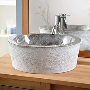 Rustic Bowl Sink : Amazon.com - Rustic Genuine Marble Washbasin Sink Basin Circular Bowl ...