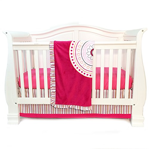 One Grace Place Sophia Lolita Infant Crib Bedding Set, White/Pink/Berry/Orange