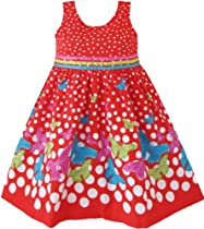 Girls Dress Red Butterfly Party Wedding Christmas Kids Clothes Size 4-5