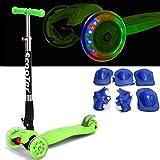 Fascol� Freestyle Plegable Patinete para ni�os entre 3 y 9 a�os + + rodillera, ABEC-7 Cojinetes, Grandes ruedas de poliuretano [verde]
