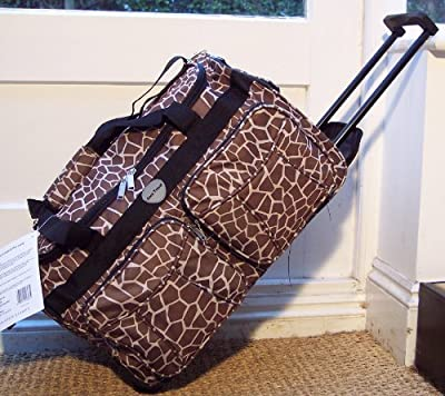 cabin approved light Travel Holdall trolley Luggage Bag Wheels hand carry on Animal print Giraffe