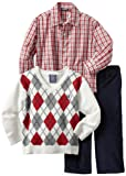 Izod Kids Boys 2-7 Argyle Sweater Plaid Shirt and Pant 3 Piece Set
