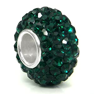 Swaroski Emerald Green Crystal Ball Bead Sterling Silver Charm Fits Pandora Chamilia Biagi Trollbeads European Bracelet