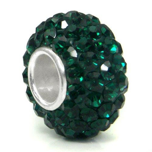 Swaroski Emerald Green Crystal Ball Bead Sterling