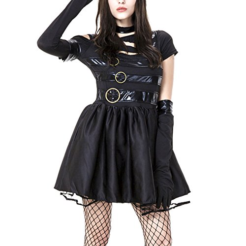 [Womens Halloween Costumes Edward Scissorhands Costume Kit Black Dress With Buckle Detailing Neck Choker] (Edward Scissorhands Womens Halloween Costume)