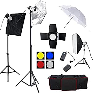 Professionnel Kit Flash de studio 750 Watts complet Kit d'éclairage Photo Studio --3*Strobe + 2*Softbox + 1 x porte de la grange, 1x soft blanc parapluie, 1x parapluie reflecteur, accessoires de studio pratique avec sac de transport oxford, appareil photo accessoire photo