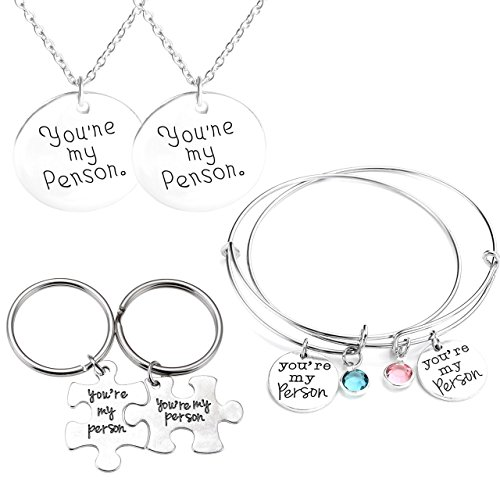 mikini Unisex Argento Retro Jewelry Set/6, con parole You Are My persona regolabile braccialetti e collane con ciondolo e portachiavi, per San Valentino Amici