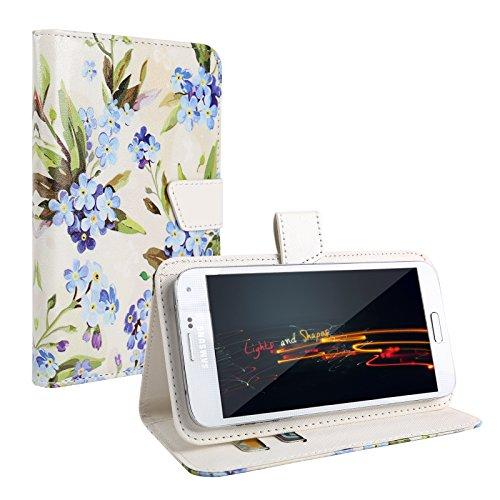 """HellBlau Blumen Schutz-hülle Tasche Case Cover für 4,0"""" - 4,5"""" Zoll Handy Smart Phone, kompatibel mit Samsung Galaxy S4 I9505, Samsung GALAXY S3 i9300, Samsung Galaxy G3500, NOKIA LUMIA 625, Nokia Lumia 720, Nokia Lumia Icon, SONY ERICSSON XPERIA T LT30P, LG OPTIMUS TRUE HD LTE P936, LG E975 Optimus G, LG PRADA PHONE P940, HTC Evo 3d Smartphone, ARCHOS 45 Helium 4G, ARCHOS 45 Titanium, CUBOT GT72 Smartphone, CUBOT ONE 4.7"""" IPS 720P HD 3G Smartphone, ZTE Blade G (11,4 cm) 4,5 Zoll"""