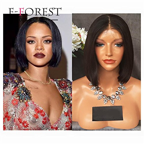 E-forest-hair-7A-8-18-Virgin-100-Peruvian-Remy-Human-Hair-Lace-Front-Bob-Short-Cut-Wig-Silky-Straight-Middle-Part-130-Density-Baby-Hair-ybt-100