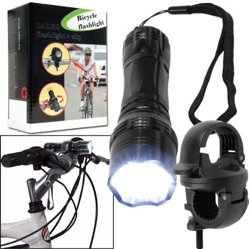 Super BrightT 14 LED Flashlight w/ Bicycle Clip