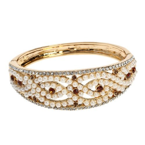 Arinna Smart Pearls Topaz Clear Swarovski Crystals 18K Yellow Plated Bracelet Bangle