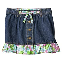 Genuine Baby By Oshkosh Toddler Girls Amsterdam Wash Flower Jeans Skirt (2T)