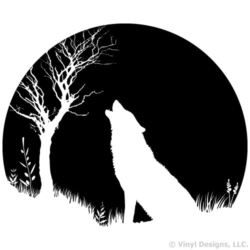 Wolf Howling Twilight Moon Vinyl Wall Decal Sticker Art, Home Decor, Mural, Black