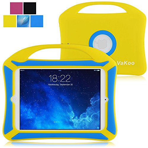 Portable Grip Shockproof Drop Protection Soft Silicone Case for Apple iPad Mini 4 with Carrying Handle, Yellow/Blue