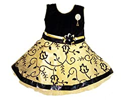 Arshia Fashions girls party dresses - Velvet and net frock- sleeveless - Black Golden 0 - 5 years