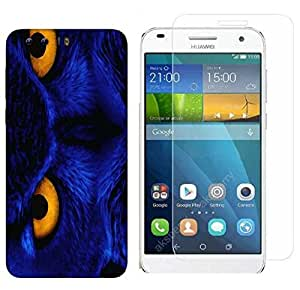 Snoogg Blue Owl Combo Designer Protective Back & Shatter Proof Tempered Glass For HONOR 8