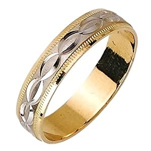 Amazon.com: 14K Two Tone Solid Gold Design Carved Wedding