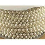4mm Faux Pearl Plastic Beads on a String Craft Roll Irridescent White by DPC