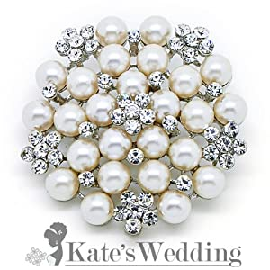 Shell Pearl Rhinestone Flower Corsage Wedding Brooch Pin