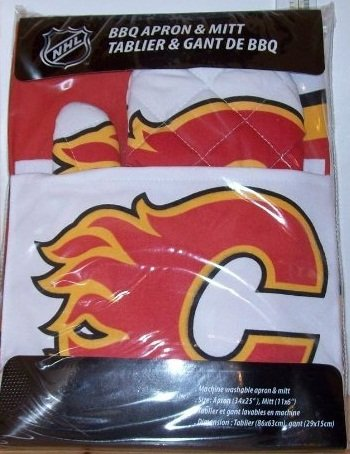 Calgary Flames Apron with Oven/Barbeque Mitt