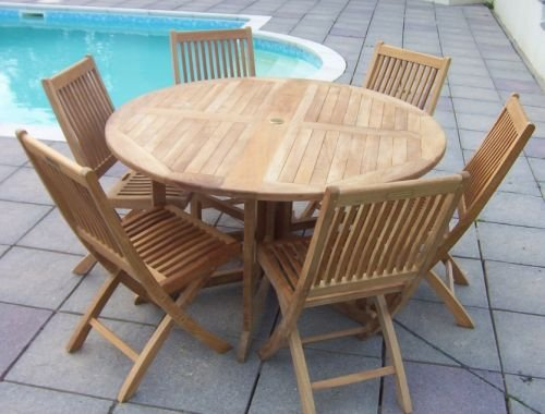 6 Seater Gate leg Folding Teak Garden Set