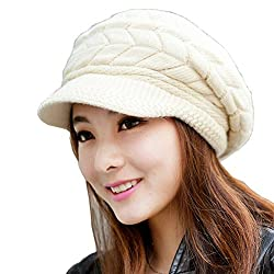 Girl's Winter Warm Knit Hat Wool Snow Ski Caps With Visor(Beige)