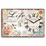 Shabby Chic Clock - Life - Its a Wonderful Life - Metal Ornate Wall Clock plaque - Cream and Pink - Vintage Rose and Leaf Design with bluye swirl and votive