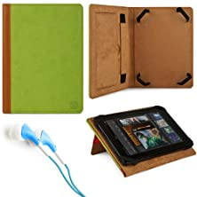 "buy Marry Edition Vg Brand Folio Stand Alone Protective Leatherette Carrying Case Cover Case Cover-(Green) For Amazon Kindle Fire 7"" Inch Android Tablet + Blue Stereo Hifi Noise Isolating Premium Headphones With Silicone Ear Tips"