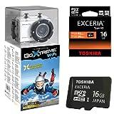 Bundle Easypix GoXtreme Full HD Action Cam mit WiFi Kamera weiß (5 Megapixel Sensor, USB 2.0, 3m wasserfest, Temperaturbeständig) weiß | inklusive viel Zubehör für unterschiedliche Sportarten | Fun Ski Alpin & 16 GB MicroSDHC HD Toshiba High Speed Exceria W:30 R:95