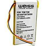 Weiss - Batería para TomTom Go 720, 530 Live, 630, 720, 730, 730T, 930 (1200 mAh)