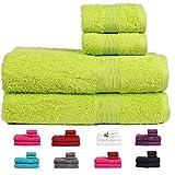 Casa Basics 450 GSM Premium Quick Dry 4 Pcs Bath Towels Set- Green (Bath,Hand Towel Set)