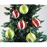 Festive Season Shatterproof Christmas Tree Ornaments - Red & Green Swirl