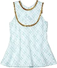 Masala Little Girls39 Baby Mira Top ToddlerKid - Cross Stitch Turquoise