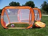 Two 6x4 Ft. Orange Pop up Foldable Soccer Goals, Portable W/carry Case, Durable Pass Soccer Goal Pai