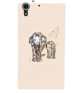 PrintDhaba ELEPHANT PATTERN D-6188 Back Case Cover for HTC DESIRE 728 (Multi-Coloured)
