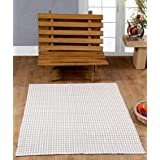 100% Cotton Gingham Check Rug Hand Woven Beige White